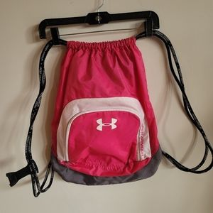 Under Armour Draw String Backpack Pink and White